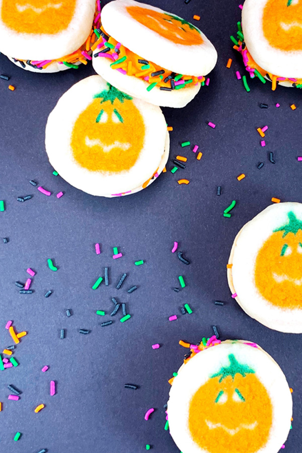 Pumpkin Sandwich Cookie with Sprinkles
