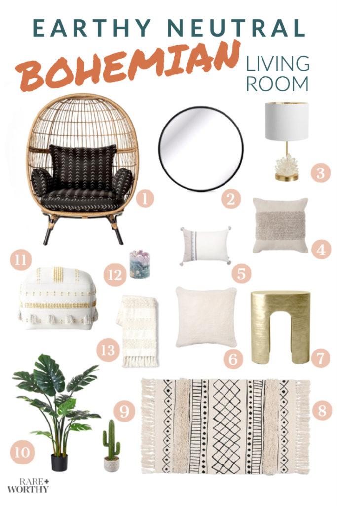 Earthy Neutral Bohemian Living Room Decor