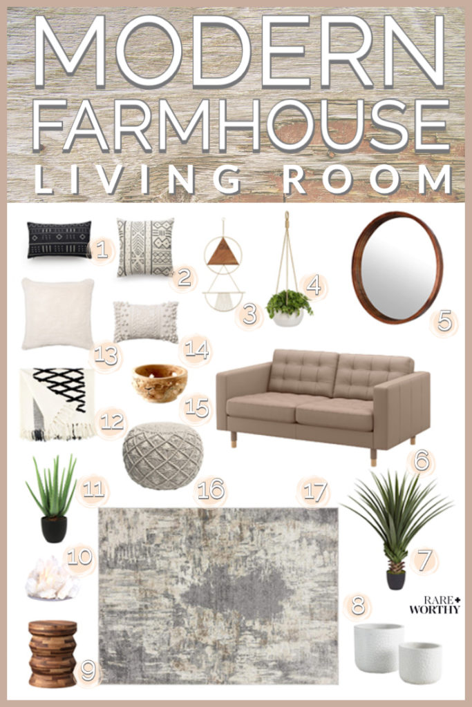 Relaxed modern farmhouse living room design curated by Rare and Worthy Co