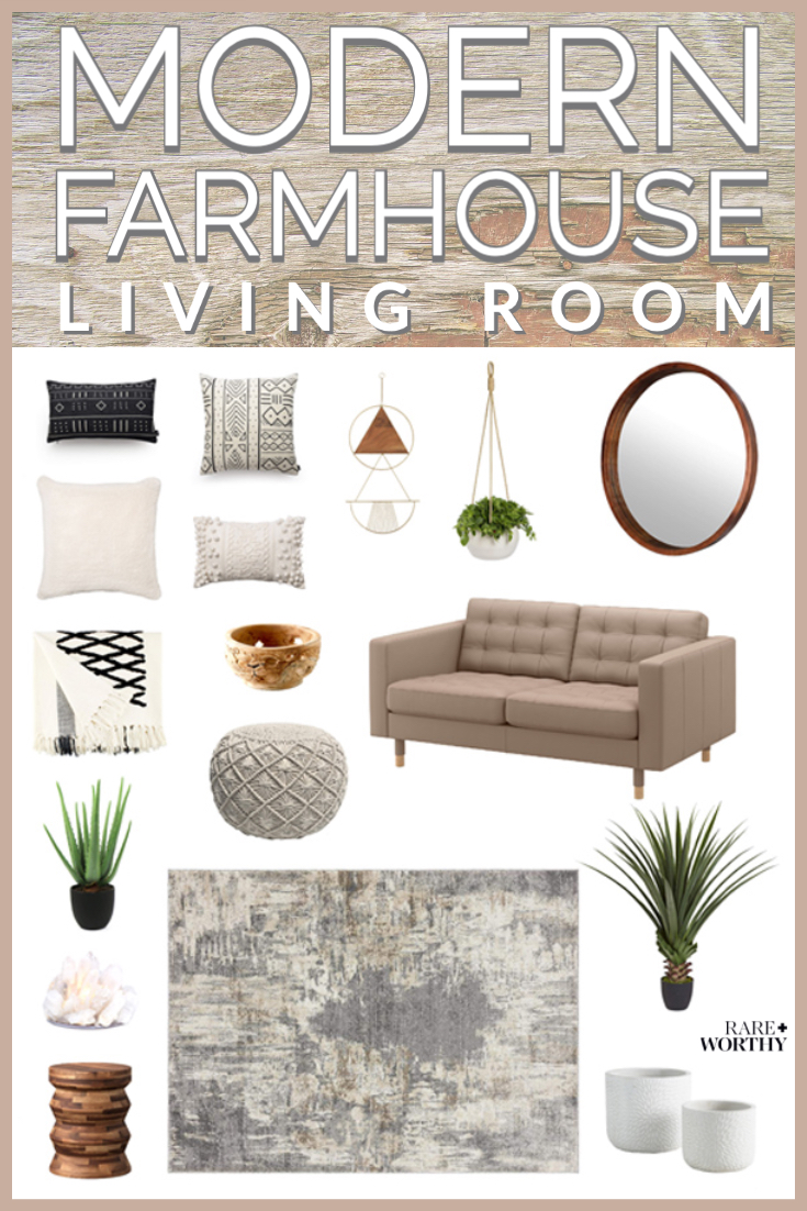 Cozy modern farmhouse living room design curated by Rare and Worthy Co