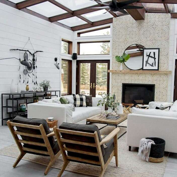 Modern Farmhouse living room with skylights and central fireplace with yellow and grey cement tiles