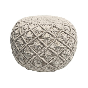 Beige Knit Crochet Macrame Ottoman Pouf - Design Inspiration Curated by Rare and Worthy Co