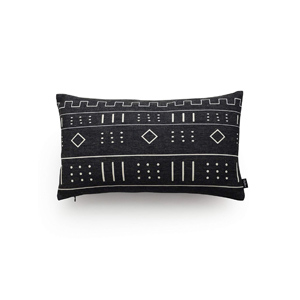 Modern Farmhouse black mud cloth tribal lumbar pillow - Design Inspiration Curated by Rare and Worthy Co