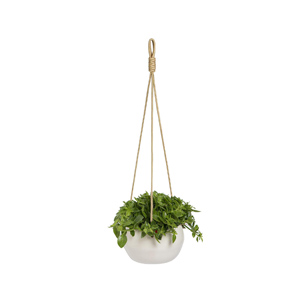 Hanging white ceramic planter with rustic rope for trailing or cascading plants - Design Inspiration Curated by Rare and Worthy Co