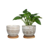 set of 2 plant pots with wood trivets