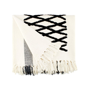 Amazon white and black fringe throw blanket geometric pattern for brown leather couch in modern farmhouse living room - Design Inspiration Curated by Rare and Worthy Co