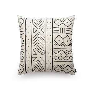 "18"" square white and black tribal pattern throw pillow cover white and black mud cloth"