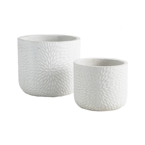 White round planter with carved floral motif Anthropologie lookalike