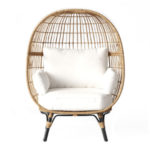 Rattan Egg Chair with white cushions