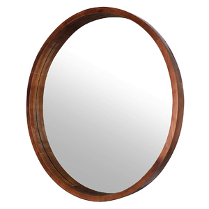 Round wall mirror with thick wood frame for modern farmhouse - Design Inspiration curated by Rare and Worthy Co