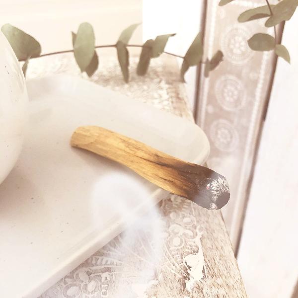 Palo Santo wood incense burning