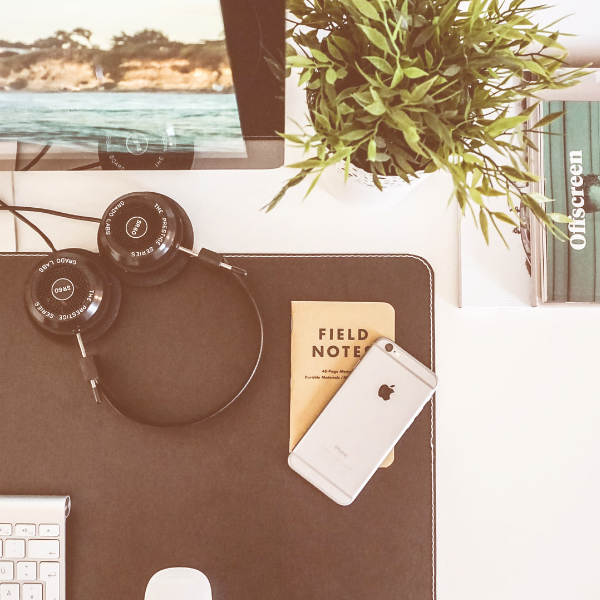 Desktop with iPhone, headphones and plant